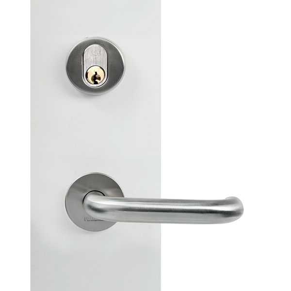 Entrance door handle with round rose key-key