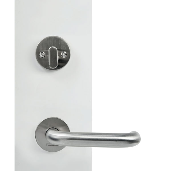 Entrance door handle with round rose key- thumb turn