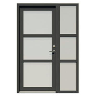 Entrance door with sidelight - 3 glass panes