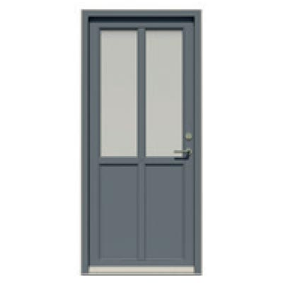 Entrance door - 2 glass panes, 2 smooth panels