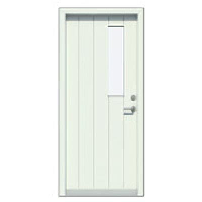 Panelled door - vertical pattern, glass pane (small)
