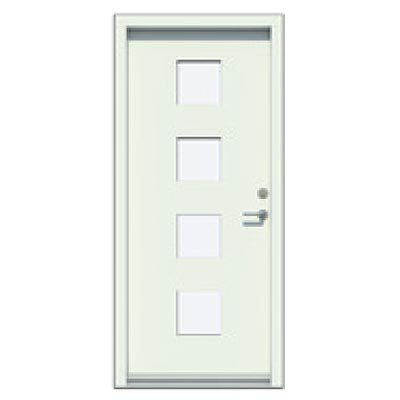 Panelled door - Smooth, 4 glass panes