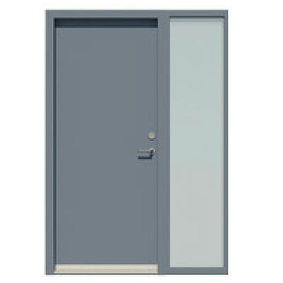 Panelled door with integrated sidelight - Smooth