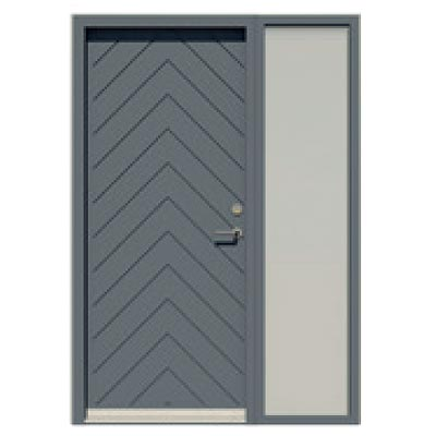 Panelled door with integrated sidelight - Herringbone pattern