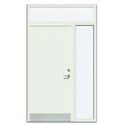 Panelled door with sidelight and toplight - Smooth